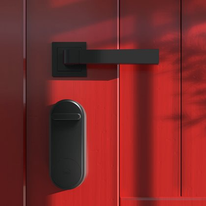 Yale Linus Κλειδαριά Airbnb σε κόκκινη πόρτα
